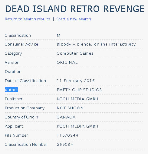 「dead island retro revenge」