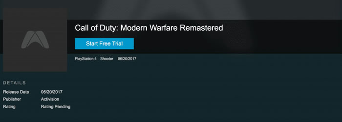 「Call of Duty: Modern Warfare Remastered」