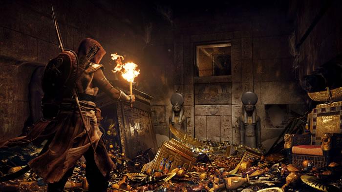 古代エジプトが舞台となる「Assassin's Creed Origins」の広大なマップとスキルツリーに焦点を当てたプレイ映像が公開