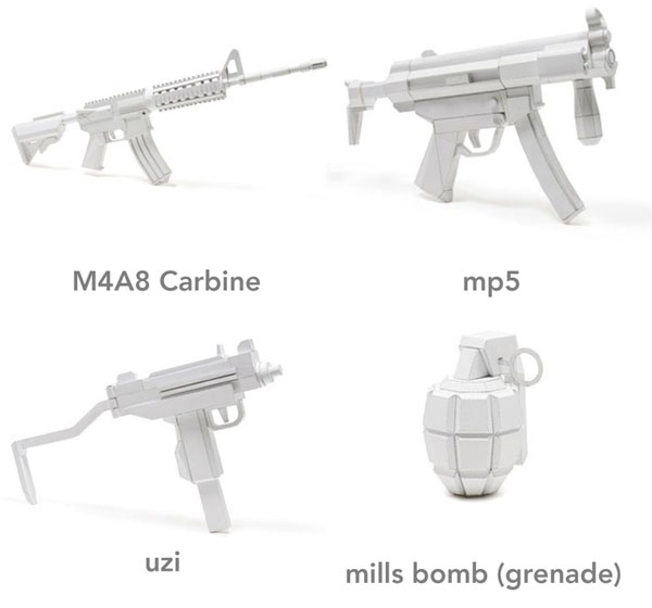 papercraft weapons