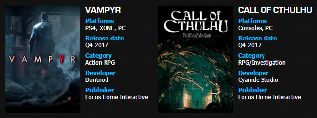「Call of Cthulhu」「Vampyr」