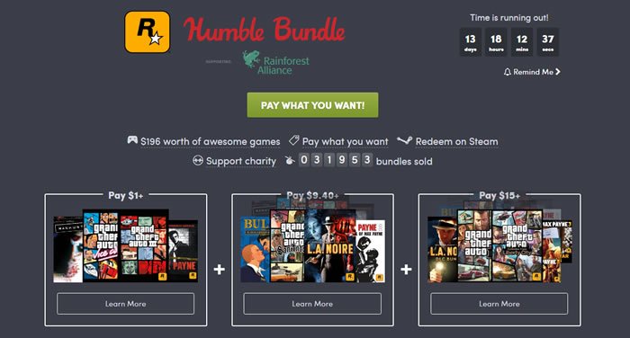 「Rockstar Games Humble Bundle」
