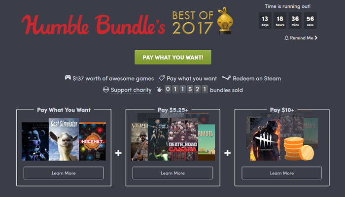 「Humble Bundle's Best of 2017」
